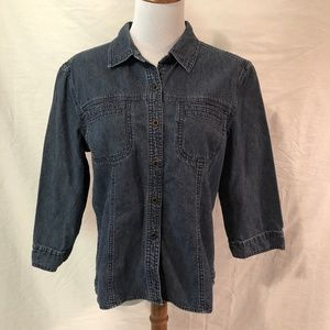 J. Jill Women's Button Down Denim Shirt